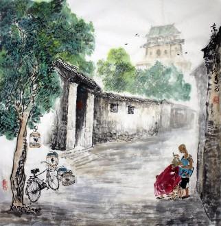 李尤(北京美协)国画山水画 四尺斗方《京城一景》北京胡同