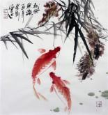 石云轩 国画写意花鸟画 三尺斗方《秋风鱼乐》双红鲤鱼1-15