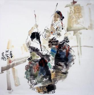 张散石 国画人物画 四尺斗方《金秋时节》
