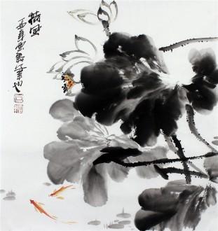 石云轩 国画写意花鸟画 三尺斗方 荷风 荷花11 17