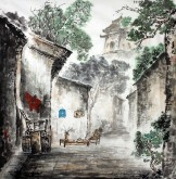 李尤(北京美协)国画山水画 四尺斗方《庭院深深》