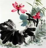 石云轩 国画写意花鸟画 三尺斗方《荷花》1-26