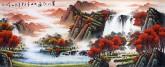 (预定)墨宇(周卡)国画聚宝盆山水画 小六尺横幅 1.8米《万山红遍》