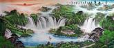墨宇(周卡)国画聚宝盆山水画 小八尺横幅 2.4米《春山叠翠》