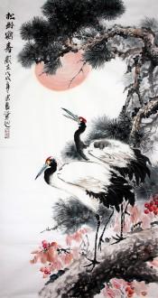 石云轩 国画写意花鸟画 四尺竖幅《松龄鹤寿》松树仙鹤12-2