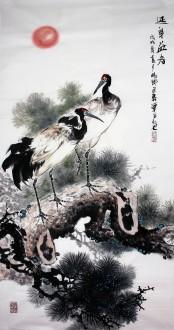 石云轩 国画写意花鸟画 四尺竖幅《延年益寿》松树仙鹤12-5
