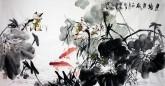 (已售)石云轩 国画写意花鸟画 四尺横幅《连塘鱼戏》荷花鲤鱼12-3