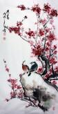 王学增 国画写意花鸟 三尺竖幅《迎春》红梅花1-3