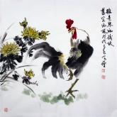 王学增 国画写意花鸟 四尺斗方《鸡是寒雨后依旧笑西风》菊花公鸡1-4