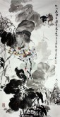 石云轩 国画写意花鸟画 四尺竖幅《出水荷风带露香》荷花鹭鸶12-14