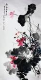 石云轩 国画写意花鸟画 四尺竖幅《荷风送香气》荷花金鱼12-19