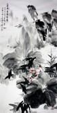 石云轩 国画写意花鸟画 四尺竖幅《十里荷香弄晴晖》荷花鹭鸶12-16