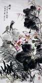 石云轩 国画写意花鸟画 四尺竖幅《荷风》纯荷花12-17
