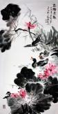 石云轩 国画写意花鸟画 四尺竖幅《荷塘清趣》荷花鸭子12-9