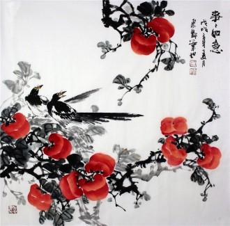 (已售)石云轩 国画写意花鸟画 四尺斗方《事事如意》柿子喜鹊12-8