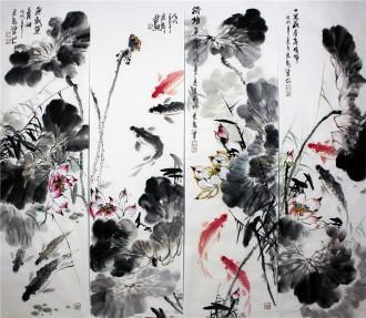 石云轩 国画写意花鸟画 四条屏《年年有余》荷花鲤鱼12-2
