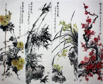 石云轩 国画写意花鸟画 四条屏《梅兰竹菊》12-1
