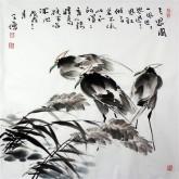 王学增 国画写意花鸟 四尺斗方《三思图》鹭鸶1-5
