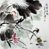 王学增 国画写意花鸟 四尺斗方《荷塘情趣》荷花1-6