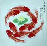 凌雪 四尺斗方 国画工笔画风水九鱼图《时来运转》鲤鱼1-3