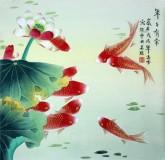 (已售)凌雪 四尺斗方 国画工笔画风水九鱼图《年年有余》荷花鲤鱼1-1