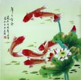 凌雪 四尺斗方 国画工笔画《年年有余》荷花鲤鱼1-4