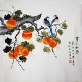 凌雪 四尺斗方 国画花鸟画《事事如意》柿子1-14