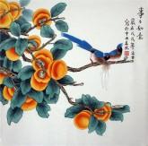 凌雪 四尺斗方 国画工笔画《事事如意》柿子1-11