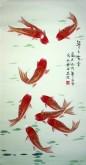 凌雪 三尺竖幅 国画花鸟画《年年有余》风水九鱼图1-7