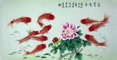 凌雪 三尺横幅 国画花鸟画《富贵有余》1-17牡丹风水九鱼