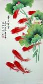 (已售)凌雪 三尺竖幅 国画花鸟画《年年有余》风水九鱼图1-2
