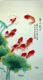 凌雪 三尺竖幅 国画花鸟画《年年有余》风水九鱼图1-6