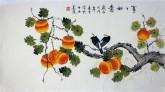 凌雪 三尺横幅 国画花鸟画《事事如意》1-9 柿子