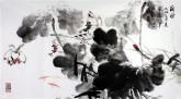 石云轩(广西美协)三尺横幅《荷风》荷花13-11