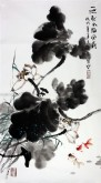 石云轩(广西美协) 三尺竖幅《一池秋水闹风荷》荷花13-9