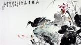 石云轩(广西美协)三尺横幅《荷塘清趣》荷花 鹭鸶13-13