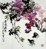 (已售)石云轩 国画写意花鸟画 三尺斗方《春意盎然》紫藤小鸡13-8