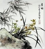石云轩 国画写意花鸟画 三尺斗方《清风》兰花竹子13-3
