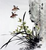 石云轩 国画写意花鸟画 三尺斗方《香韵》兰花小鸟13-5