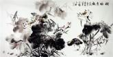 石云轩 国画写意花鸟画 四尺横幅《荷塘清趣》荷花鹭鸶13-2