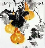 石云轩 国画写意花鸟画 三尺斗方《有福图》葫芦小鸡13-9
