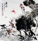 石云轩 国画写意花鸟画 三尺斗方《荷风》荷花蜻蜓13-6
