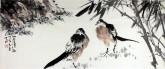 孙克升(河北美协会员)国画花鸟画 40*90cm《竹荫清趣》竹子喜鹊