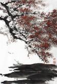 孙克升(河北美协会员)国画花鸟画 四尺三开《红梅》