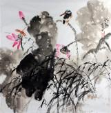 孙克升(河北美协会员)国画花鸟画 四尺斗方《野趣》荷花