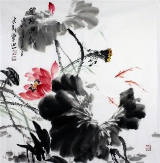 石云轩 国画写意花鸟画 四尺斗方《莲塘鱼戏》荷花鱼13-4