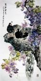 石云轩 国画花鸟画 四尺竖幅《紫气东来》紫藤孔雀13-12