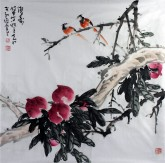 孙克升(河北美协会员)国画花鸟画 四尺斗方《双寿》桃
