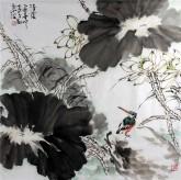 孙克升(河北美协会员)国画花鸟画 四尺斗方《清荫》荷花