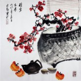 (已售)石云轩 国画写意花鸟画 四尺斗方《雅室生香》红梅花 茶壶13-5